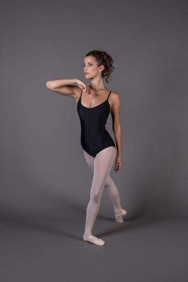 Body Danza donna bretelle scollo rotondo inserto lycra sulla schiena