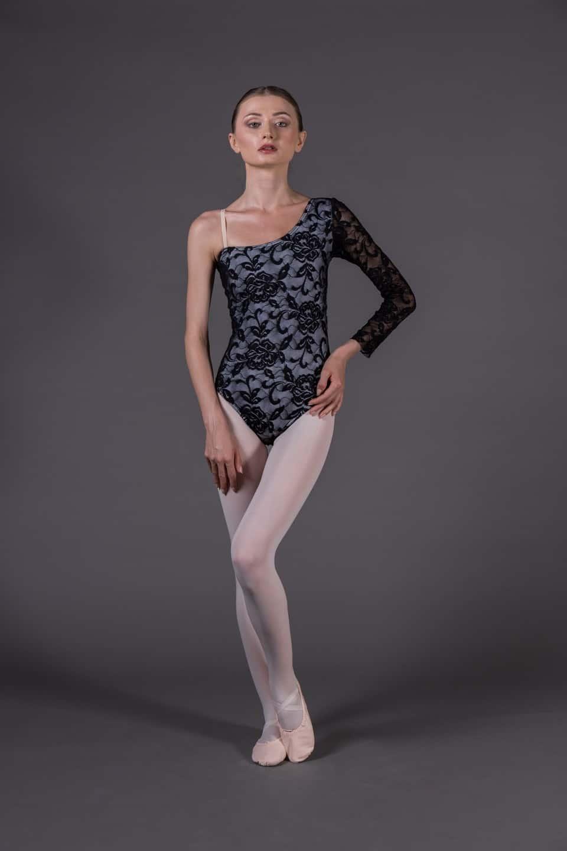 Body Danza donna monospalla rivestito in pizzo da71df36574