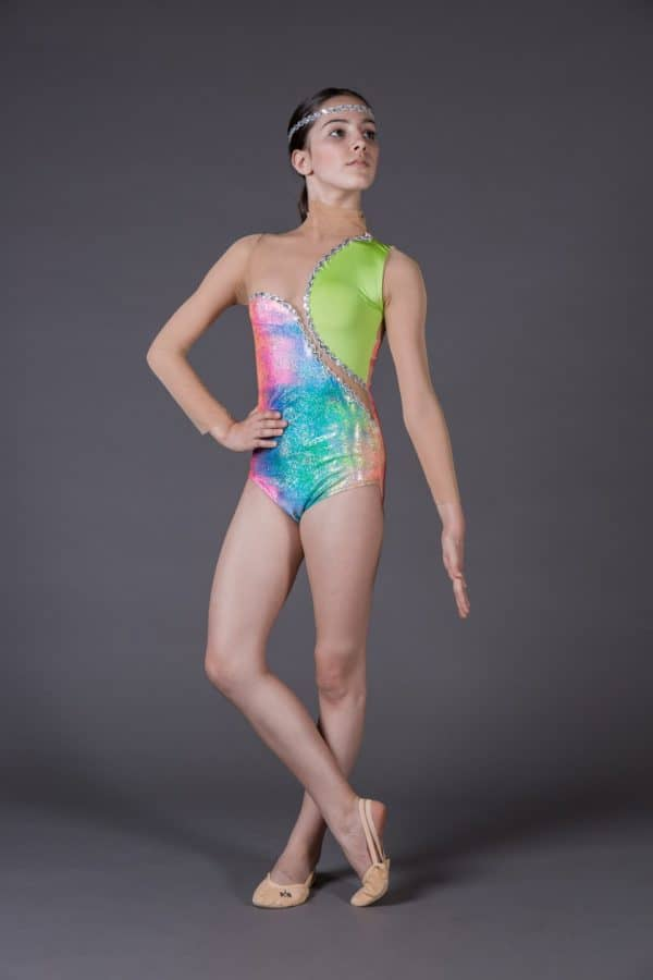 Body pistagna con inserti in rete e lycra multicolor