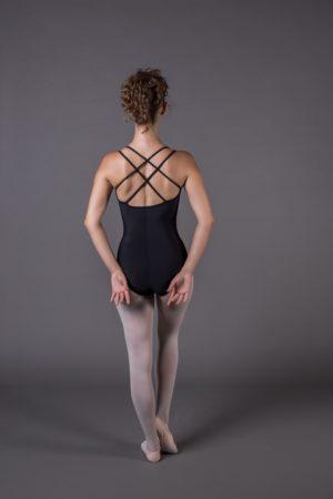 body danza donna a doppia bretella con incroci dietro