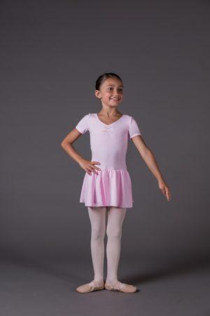 Body Danza Bambina manica corta riccetto avanti