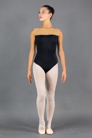 Body Danza Donna inserto tulle scollo avanti