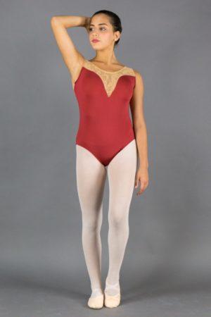 Body Danza donna inserto pizzo scollo avanti