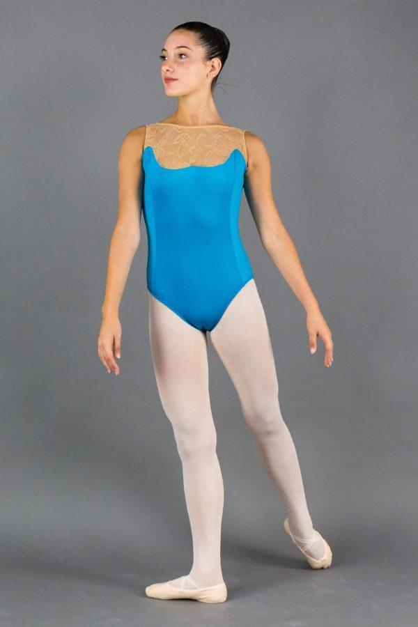 Body danza donna inserto pizzo avanti scollo retto