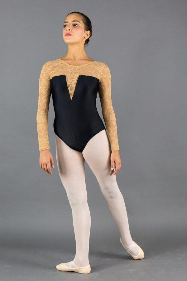 Body danza donna manica lunga in pizzo