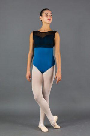 body danza donna scollo a cuore inserto in tulle