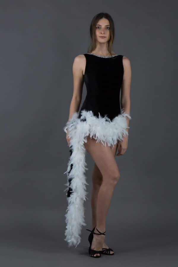 Body per ballo latino con piume