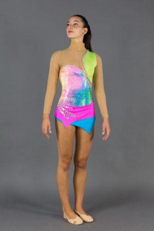 Body per ginnastica ritmica multicolore