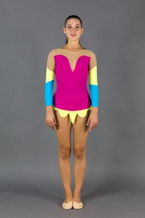 Body per ginnastica ritmica maniche bicolore