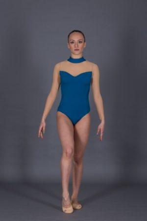Body ginnastica scollo a pistagna in velluto