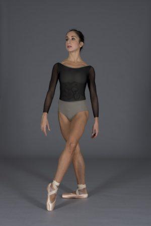 Body danza donna rivestito in tulle elasticizzato