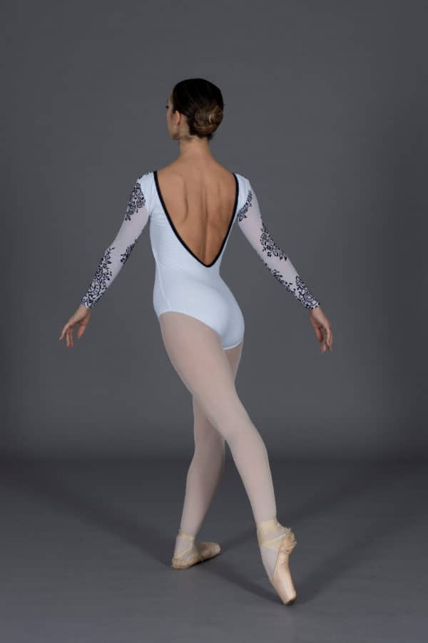 Long sleeved tulle flock dance leotard
