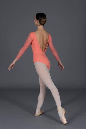 Body danza donna maniche in tulle elasticizzato