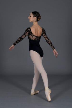 Body danza donna scollo rotondo maniche lunghe